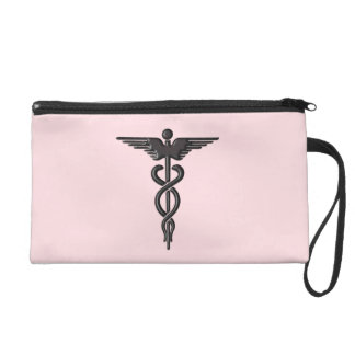 Pink Medical Caduceus Wristlet Clutches