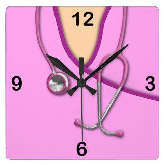 Pink Medical Scrubs Square Wall Clock