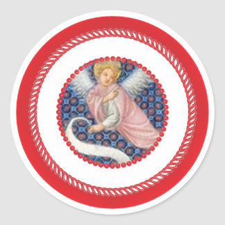 Pink Medieval Angel For Jesse Tree Classic Round Sticker