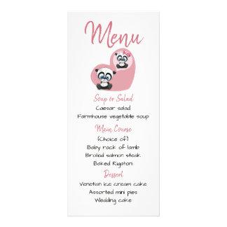 Pink Menu Panda Teddy Bear Heart Wedding Party