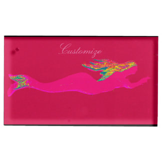 pink mermaid swimming place card holder
