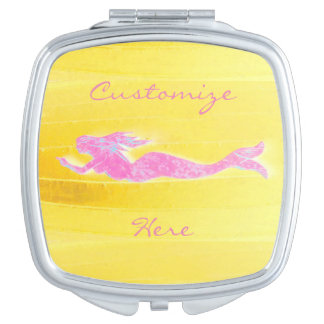pink mermaid yellow vanity mirror