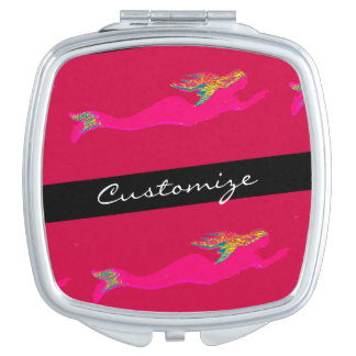 pink mermaids swimming makeup mirrors