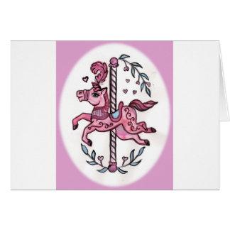 Pink merry-go-round horsie card