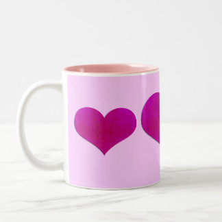 pink metal hearts coffee mugs