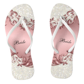 Pink Metallic Floral & Confetti Glitter | Wedding Thongs