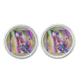 Pink Metallic Fractal Magic Cuff Links