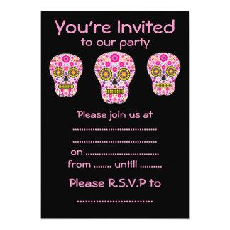 Pink Mexican Sugar Skull 13 Cm X 18 Cm Invitation Card