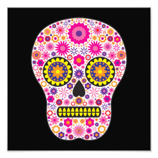 Pink Mexican Sugar Skull Photographic Print
