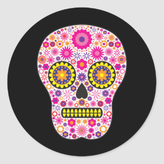 Pink Mexican Sugar Skull Round Sticker