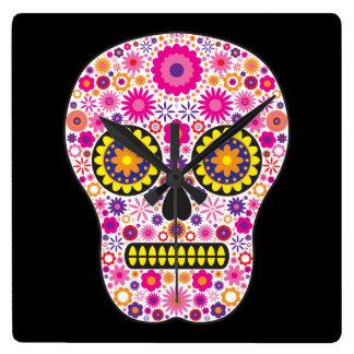Pink Mexican Sugar Skull Wall Clocks