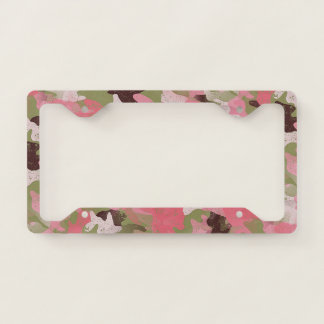 Pink Military Green Camouflage Pattern Licence Plate Frame