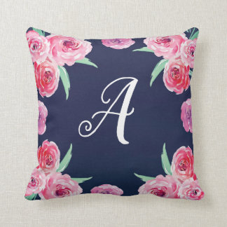Pink, Mint and Navy blue floral Pillow