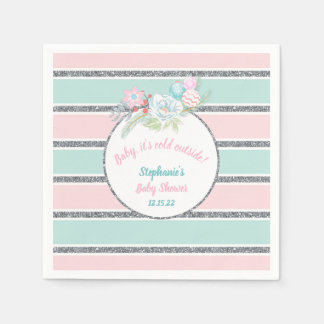 Pink Mint Christmas girl baby shower invite Disposable Napkins
