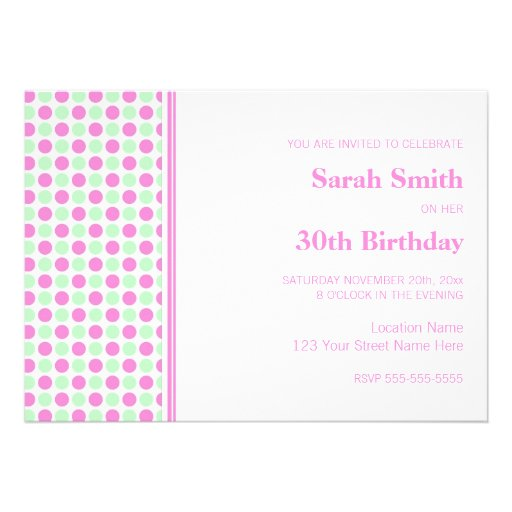 Pink Mint Dots 30th Birthday Party Invitation