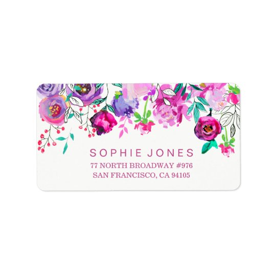 Pink Mint Flowers Bridal Shower Address Labels