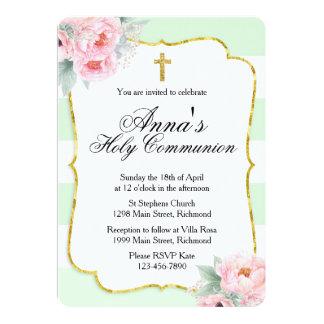 Pink, Mint & Gold Communion Invitation