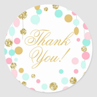 Pink Mint Gold Favor Tags Thank You Girl Birthday Round Sticker