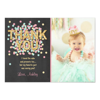Pink Mint Gold Glitter Birthday Thank You Card 13 Cm X 18 Cm Invitation Card