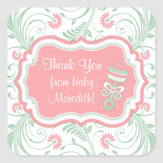 Pink Mint Green Floral Sip N See Baby Shower Square Sticker