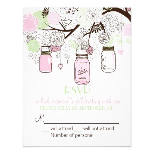 Pink Mint Green Mason Jars RSVP Wedding Invitation