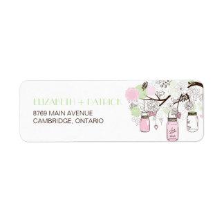 Pink & Mint Green Mason Jars Wedding Address Label