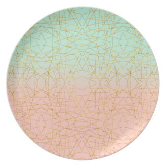 Pink Mint Green Ombre Gold Glitter Geometric Party Plates