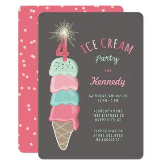 Pink Mint Ice Cream Girl 4th Birthday Party Invite