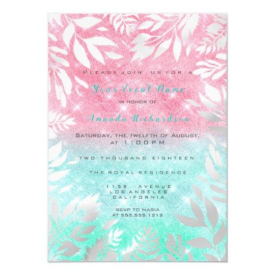 Pink Mint Ocean Glitter Ombre Floral Sparkly 16th Card