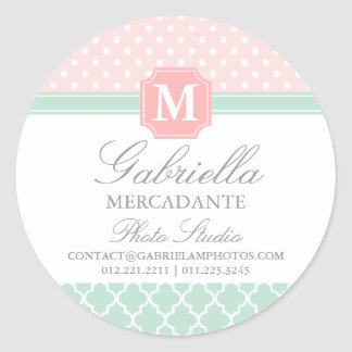 Pink Mint Polka Dots Moroccan Business Custom Round Sticker