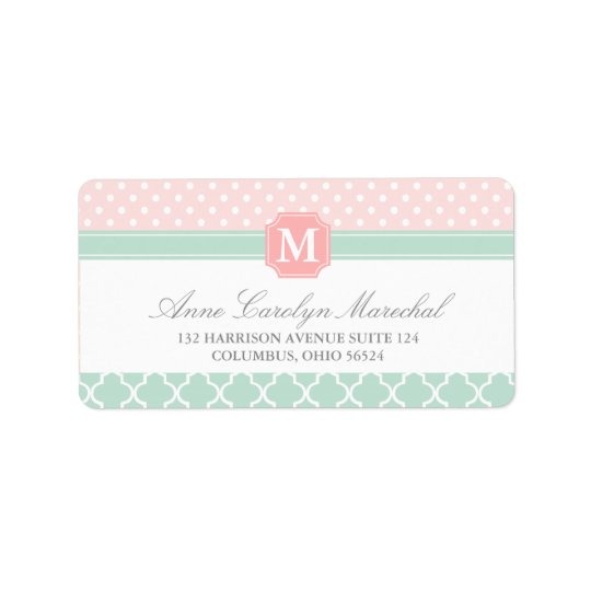 Pink Mint | Polka Dots Moroccan | Monogrammed Address Label