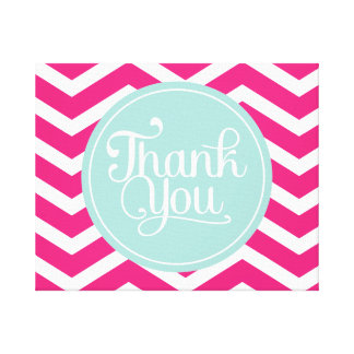 Pink Mint Teal Thank You Chevrons Canvas Print