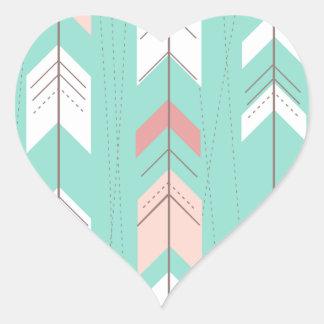 Pink Mint Tribal Aztec Heart Sticker
