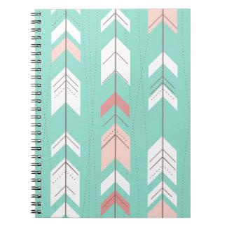 Pink Mint Tribal Aztec Notebooks