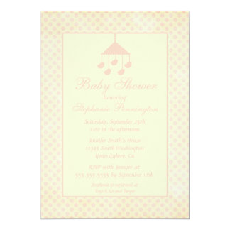 Pink mobile faded polkadots baby shower invitation