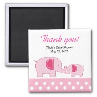 Pink Mod Elephants Trendy Jungle Favor Magnet