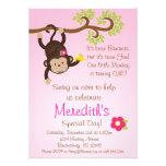 Pink Mod Monkey Girls Birthday Party Invite