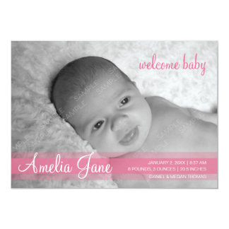 """Pink Modern Baby Girl Announcement 5"""" X 7"""" Invitation Card"""