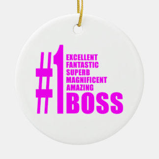 Pink Modern Bosses : Number One Boss Christmas Tree Ornaments