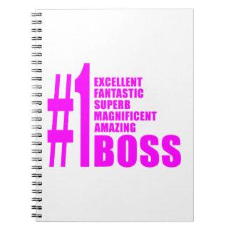 Pink Modern Bosses : Number One Boss Spiral Notebook