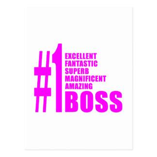 Pink Modern Bosses : Number One Boss Postcard