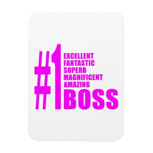 Pink Modern Bosses : Number One Boss Rectangular Magnets