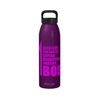 Pink Modern Bosses Number One Boss Reusable Water Bottle