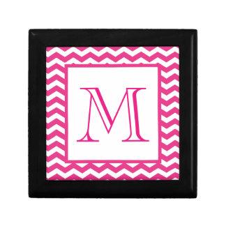 Pink Modern Chevron Custom Monogram Gift Box
