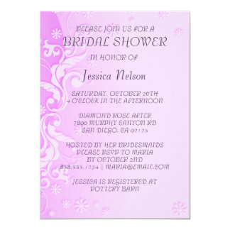 Pink Modern Floral Design Bridal Shower Invitation Custom Invitations