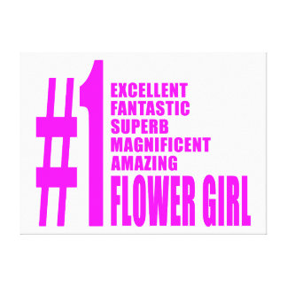 Pink Modern Flower Girls Number One Flower Girl Stretched Canvas Print