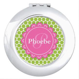 Pink Modern Flower Monogram Lime Green Polka Dots Travel Mirror