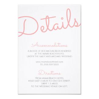 Pink Modern Typography Wedding Details 9 Cm X 13 Cm Invitation Card