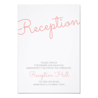Pink Modern Typography Wedding Reception 9 Cm X 13 Cm Invitation Card