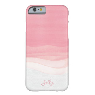 Pink, Modern Watercolor Monogram Barely There iPhone 6 Case
